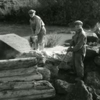 Virenojan Myllykulman sillan rakennustöitä 1950- ja -60-lukujen vaihteessa