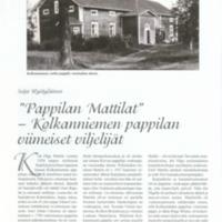 Pappilan Mattilat- Kolkanniemen pappilan viimeiset viljelijät