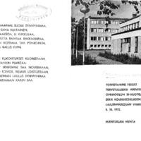 Mäntsälän oppikoulun 30-vuotisjuhlan ja laajennusosan vihkiäisten ohjelma