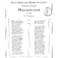Oulun Suomalaisen Klassillisen lyseon 25-vuotisen toiminnan muistopäivänä 30.5.1908
