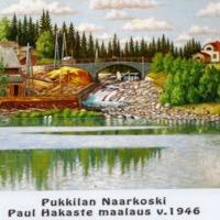 Valokuva Paul Hakasteen maalauksesta: Pukkilan Naarkoski