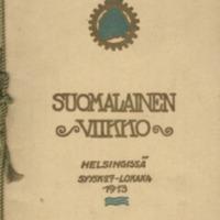 Päättäjäisjuhla Kaivohuoneella lokakuun 4 p. 1913 = Anslutningsfesten å Brunnshuset d. 4 oktober 1913