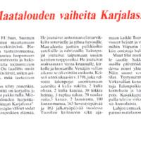 Maatalouden vaiheita Karjalassa