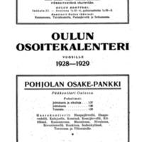 Oulun osoitekalenteri vuosille 1928-1929