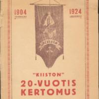 Kiiston 20-vuotiskertomus 1904-1924