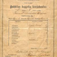 Pukkilan kappelin kansakoulun tutkintotodistus vuodelta 1899