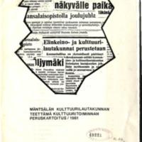 Mäntsälän kulttuurilautakunnan teettämä kulttuuritoiminnan peruskartoitus / 1981