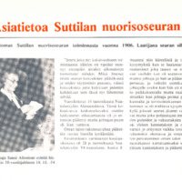 Asiatietoa Suttilan nuorisoseuran perustamisen alkuajoilta