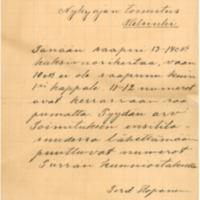 Ferd. Koposen kirje Nykyaika-lehden toimitukselle