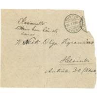 Kirjekuori Kasimir Leinolta Olga Kyreniukselle