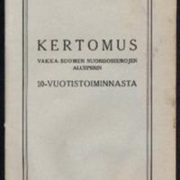 Vakka-Suomen nuorisoseurojen aluepiirin toimintakertomus ajalta 1923 - 33