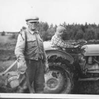 Aku ja Mauno Väisänen peltotöissä vuonna 1952