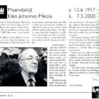 Maanviljelijä Esko Johannes Mikola
