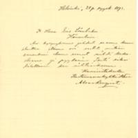 Alvar Renqvistin kirje Eino Leinolle
