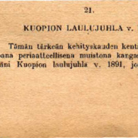 Kuvaus Kuopion laulujuhlilta 1891