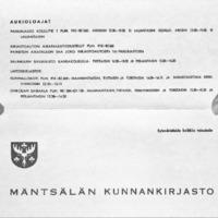 Mäntsälän kunnankirjaston tiedotteita vuosilta 1971-1979