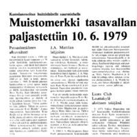 Muistomerkki tasavallan presidentti Risto Rytille paljastettiin 10.6.1979
