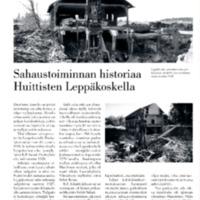 Sahaustoiminnan historiaa Huittisten Leppäkoskella
