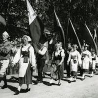 Maakuntajuhlien juhlakulkue Orimattilassa vuonna 1959