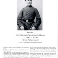 Jefreitteri Emil Kallenpoika Paavola asepalveluksessa 1.11.1888-31.10.1891 Hämeen pataljoonassa eli Suomen 7. Hämeenlinnan tarkk'ampujapataljoonassa