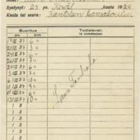 Poikien hiihtomerkin suorituskortti vuodelta 1937