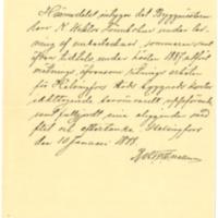 Viktor Lönnbohmin työtodistus 10.1.1888