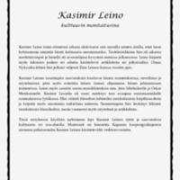 Kasimir Leino - kulttuurin monitaituri