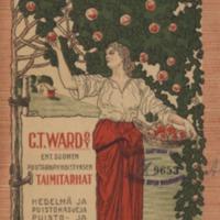 Hintaluettelo = Priskurant : C. T. Ward Oy = C. T. Ward AB : ent. Suomen puutarhayhdistyksen taimitarhat = f.d. Finska trädgårdsföreningens träskolor : hedelmä- ja puistokasveja, puisto- ja hedelmäpensaita, mansikkain ja kukkientaimia y.m. = frukt- och parkträd, park- och fruktbuskar, smultron- och blomsterplantor m.m.