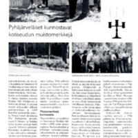 Pyhäjärveläiset kunnostavat kotiseudun muistomerkkejä