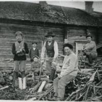 Samolan talon väkeä puunhakkuussa