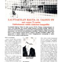 Lauttakylän Rauta ja Talous oy ensi vuonna 75-vuotias