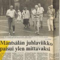 Lehtileikkeitä Mäntsälän 400-vuotisjuhlista
