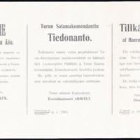 Turun satamakomendantin tiedonanto 1915