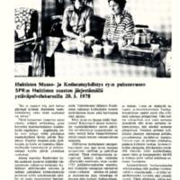 Huittisten Museo- ja Kotiseutuyhdistys ry:n puheenvuoro SPR:n Huittisten osaston järjestämällä ystävänpalvelukurssilla 20.3.1978